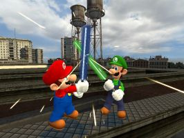 Mario Luigi Lightsaber fight by RayFan9876