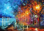 When bird start singing oil painting by Afremov by Leonidafremov