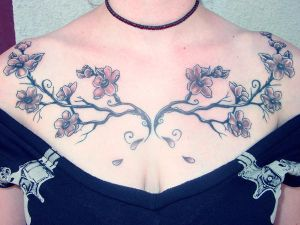 Female Tattoos, Cherry Blossom Tattoo, Upper Back Tattoos, Back Body Tattoos, Chest Tattoos, Japanese Tattoos, Flower Tattoos,