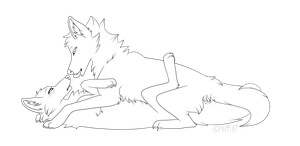 More Wolf Couple Lineart by Yipped