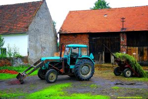 OLD TRACTOR WITH TRAILER by magicandbrother