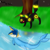 Vaporeon and Umbreon by MijuMar