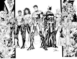 JUSTICE LEAGUE sample inks, JIM LEE. II by lebeau37