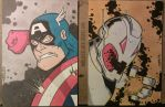 Captain America and Ultron Sketch Cards by THEjesusmarquez
