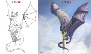 Dragon tower - before and now by Aomori