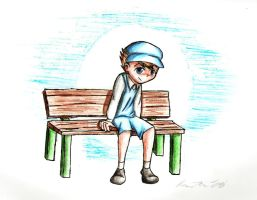 Luke on a Bench by otakubox25
