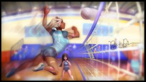SkullGirls High Nadia Fortune's Volley Ball Team by Drsusredfish