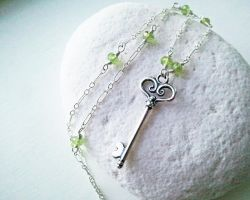 Peridot Key Necklace by QuintessentialArts
