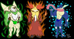 Pokemon: XY Starters Final Evolutions by CaseyLJones