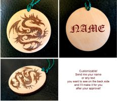 TRIBAL DRAGON two sided key chain with your name by YANKA-arts-n-crafts
