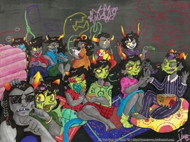 Homestuck - Slumber Party by Genolover