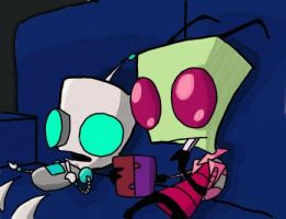 Gir and Zim, chillin by violetreaper