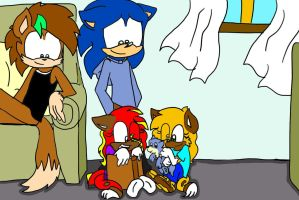 Request: Sasha, shona and their new fluffy friend by Sonicfan1345