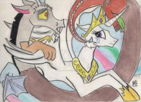 another Celestia and Discord by purpleslyfox