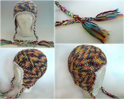 Rainbow Aviator Hat by ABlueLotusDesigns