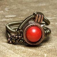Coral Steampunk Ring by CatherinetteRings