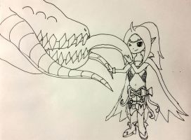 Nowi and Grima (uncolored) by Michaelgangelo