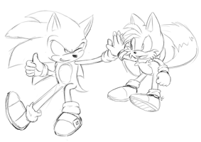 Sonic and Tails :you can color: by Mitzy-Chan