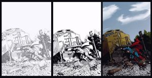 Superman More Powerful than a Locomotive, 3 Stages by AurynPub