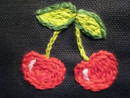 Embroidered Cherries by TheCrimsonCrow