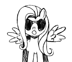 Fluttershy with aviatorglasses by Nazzaroth