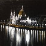Parliament Building and Danube at Night by Merwenna