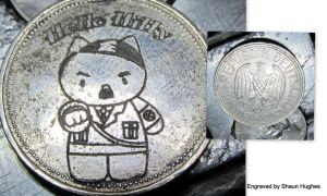 Hello Hitty Engraved German Coin by shaun750
