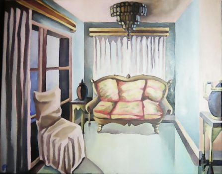 The funeral director's repose, oil on canvas by Babonga