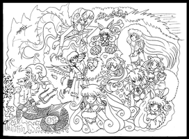 CharacterGroup LineArt by bluebellangel19smj