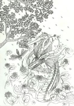 Lineart: in lily pond by kxeron