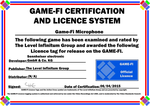 Microphone Game-Fi Certificate by LevelInfinitum