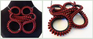 Tentacle Necklace Black and red by KTOctopus