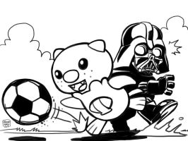 Oshawott vs. Darth Vader in Soccer by holaso