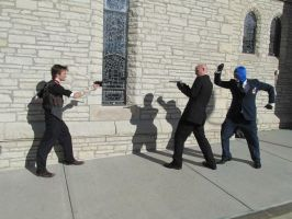 Booker, Spy, and Agent 47 facing off by TimeyWimey-007