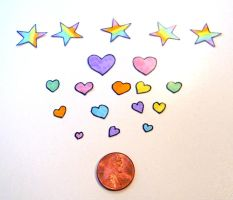 Hearts and Stars Stickers 19 Pieces by Ukeaco