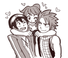 Commission - Esther + Simon + Natsu by SonicRocksMySocks