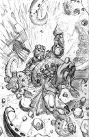 HELLBOY -n- SQUIDDY - pencils by JMan-3H