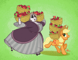 Ghosts and Ponies: Bonnie May and Applejack by katseartist