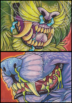 ACEO ''TEEF'' Series: Feline and Canine by KiRAWRa