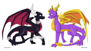 Cynder and Spyro -colored- by ArcticHero