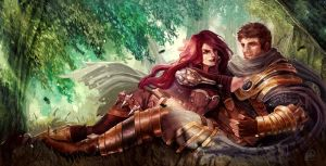 Art Trade ShiNaa: Katarina and Garen by Skyzocat