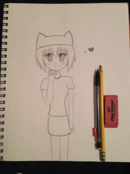Manga Girl With a Cat Beanie Pencil Drawing by kimberjoannlewis