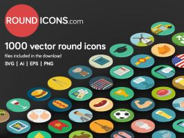 1000 Flat Round Vector Icons by ramywafaa