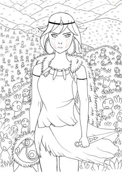 Mononoke Hime and the Kodamas (outlines) (scan) by Lew-Ty