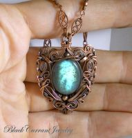 Labradorite and Copper - Shiny Shield by blackcurrantjewelry