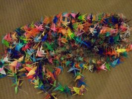 1000 paper cranes! by Afireonthesnow
