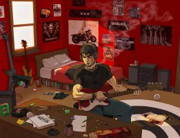 Red Bass Guitar by Zombiesmile