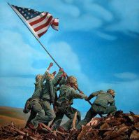 Raising the Flag on Iwo Jima by godlived