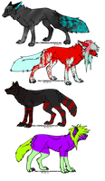 odd little wolves anf foxs adopts {points} by Sprinklesmakesadopts