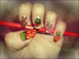 Strawberry Symphony nail art by RainbowsForKate